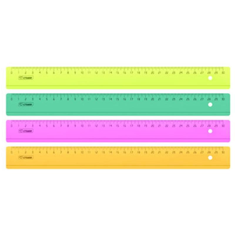 Линейка цветная, флюоресцентная, прозрачная, 4 цв., 30 см