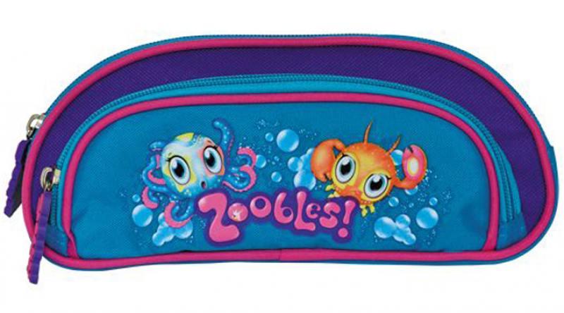 Пенал ZOOBLES, на 1 молнии, с доп. карманом на молнии, без наполнения, 23x9x3 см канцелярия action подкладка на стол zoobles
