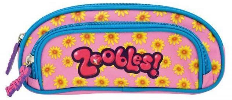 Пенал ZOOBLES, на 1 молнии, с доп. карманом на молнии, без наполнения, 23x9х3 см, роз.с синей окант. канцелярия action подкладка на стол zoobles