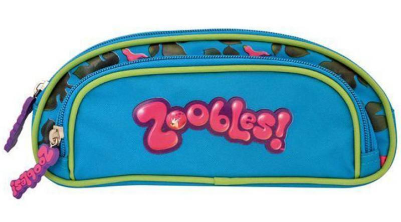 Пенал ZOOBLES, на 1 молнии, с доп. карманом на молнии, без наполнения, 23 x9 x3 см, синий с зел.окан мешок для обуви zoobles разм 43х32 см с доп карманом на молнии zb ass4306 4