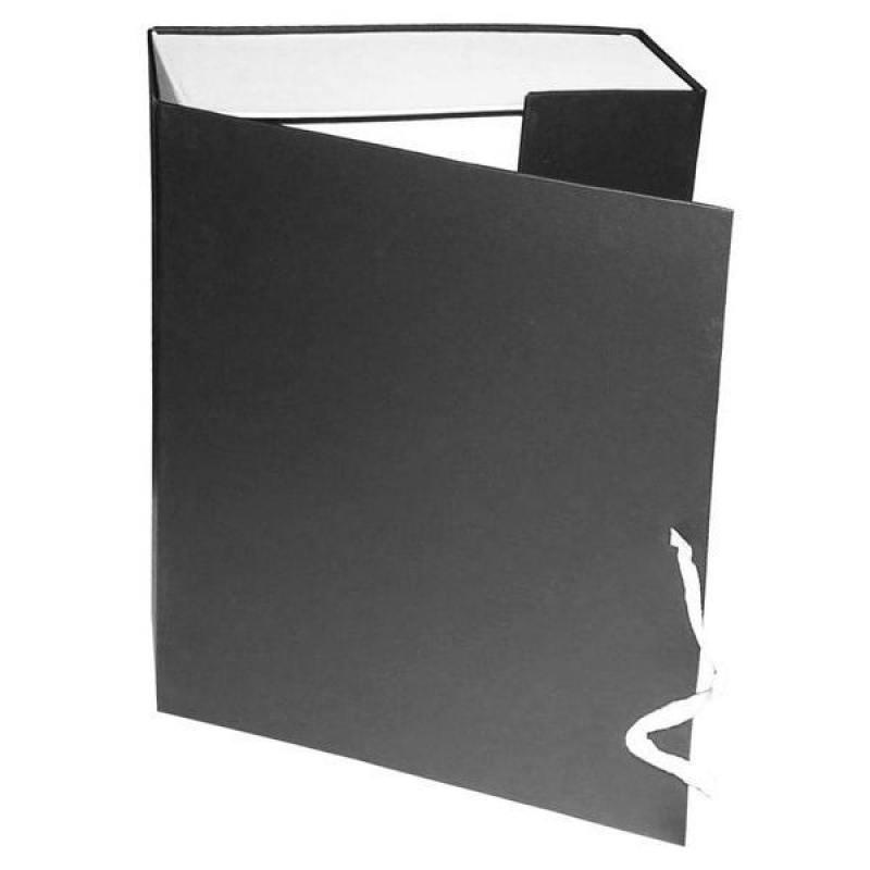 Короб архивный на завязках, бумвинил, 320х242х100 мм, черный недорго, оригинальная цена