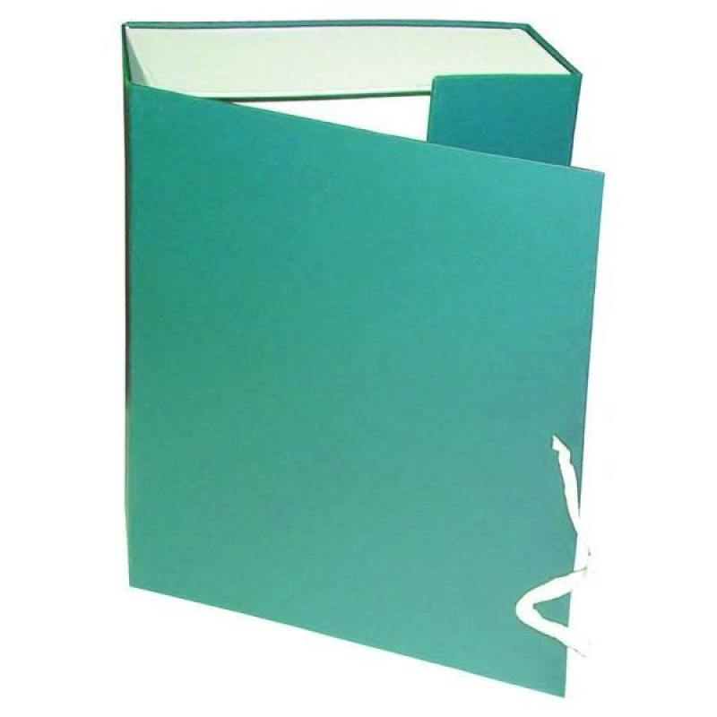 Короб архивный на завязках, бумвинил, 320х242х120 мм, зеленый недорго, оригинальная цена