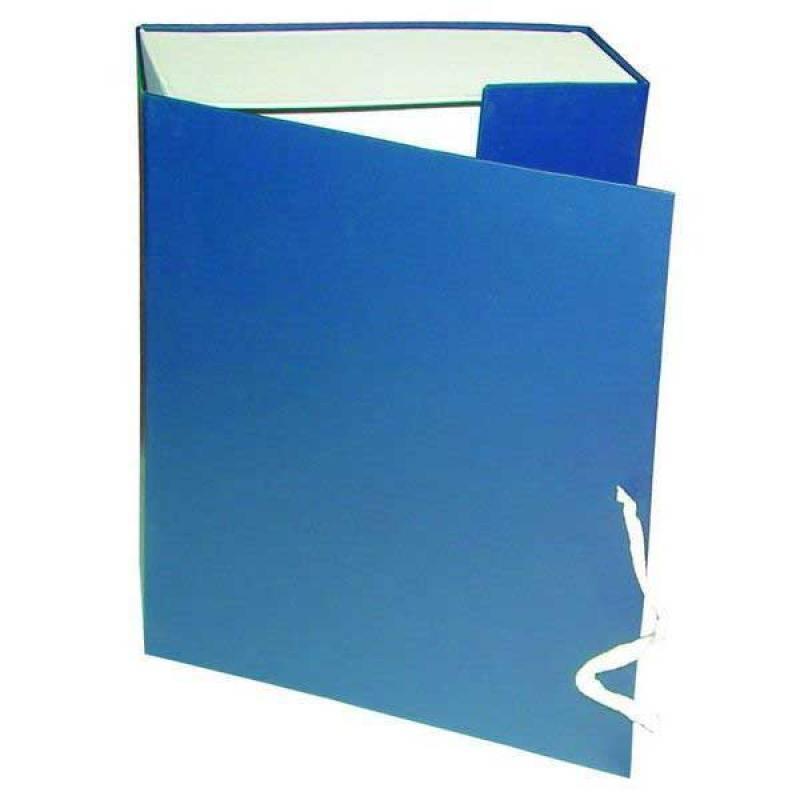 Короб архивный на завязках, бумвинил, 320х242х120 мм, синий недорго, оригинальная цена