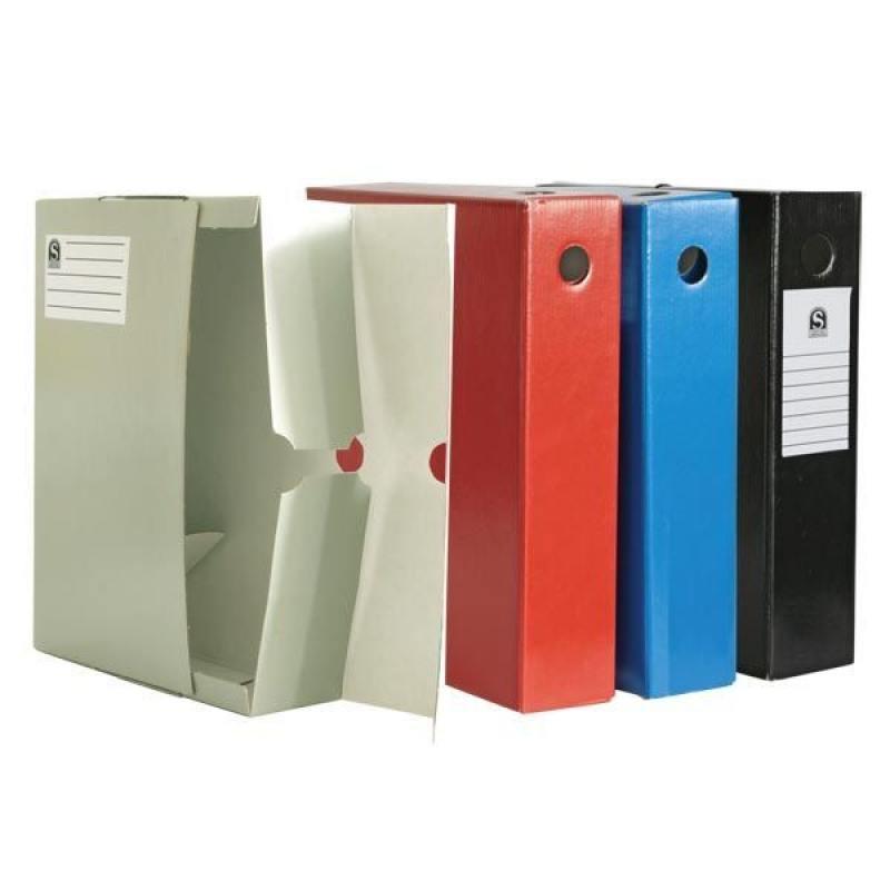 Лоток-коробка архивный, лакированный микрогофрокартон, 470 г/кв.м, 250x75x315 мм, красный