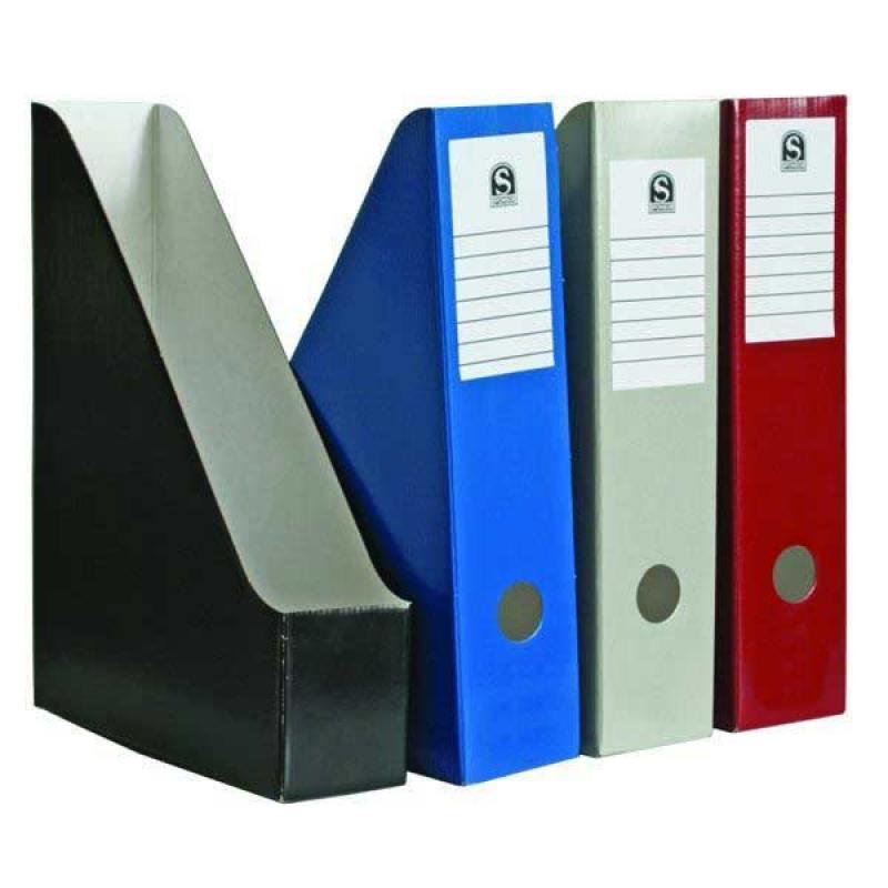 Накопитель архивный, вертикальный, лакированный микрогофрокартон, 470 г/кв.м,227х150х305 мм, красный