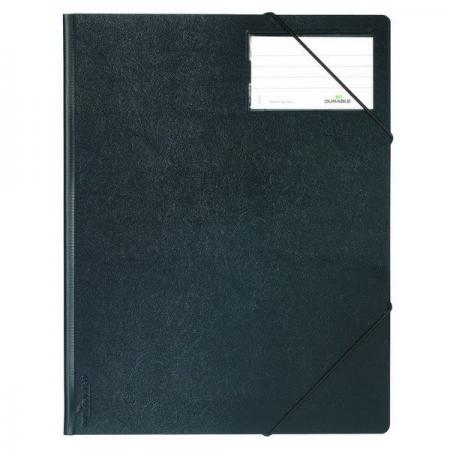 Папка на резинках из прочного пластика, ф.А4, на 150 листов, с инфо-окном 57х90 мм, черная