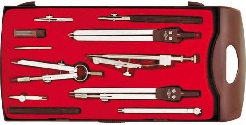 Готовальня, 11 предметов, с евпоподвесом готовальня rotondo 3 предмета с евпоподвесом 85600