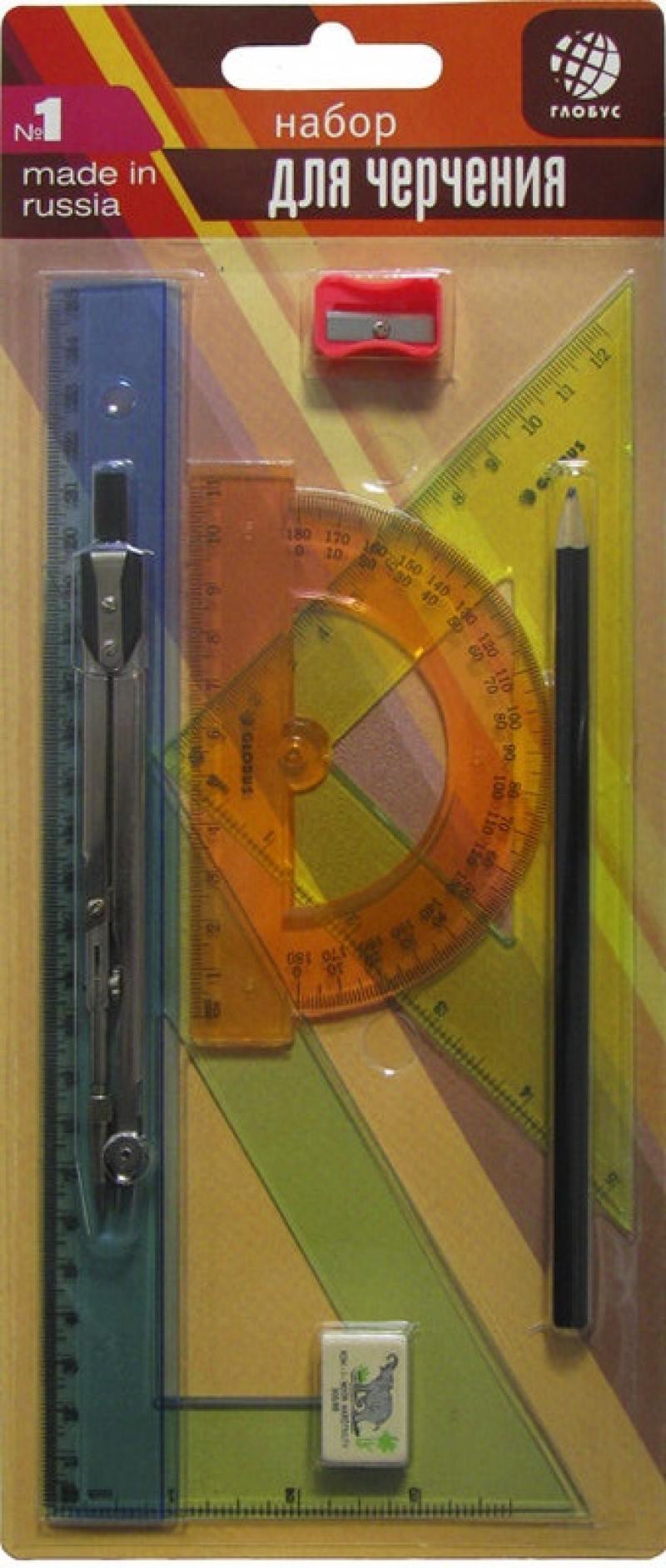 Набор геометрический, 8 предметов (циркуль стальной, никелир. (70) L-155), в блистере