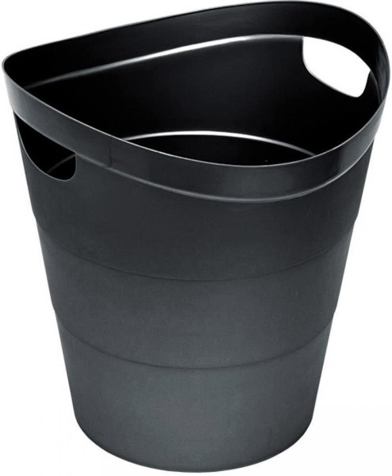 Корзина для бумаг, цельнолитая, чёрная, 13 литров гантель цельнолитая larsen nt161