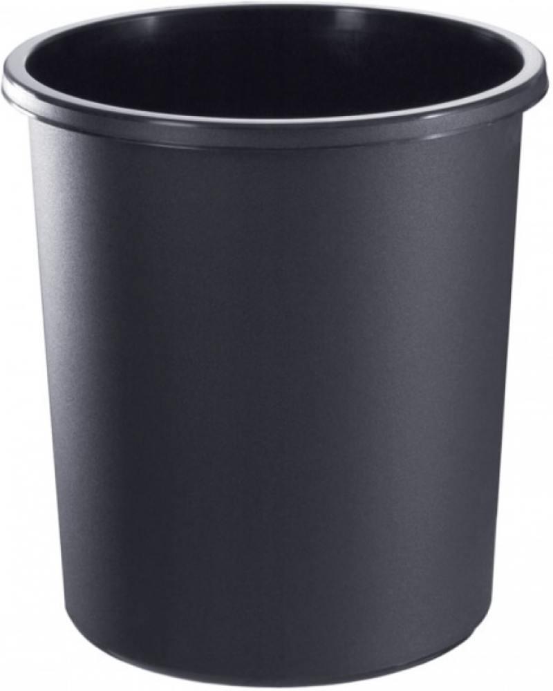 Корзина для бумаг, цельнолитая,черная, 18 литров корзина для бумаг стамм кр02 18 серая