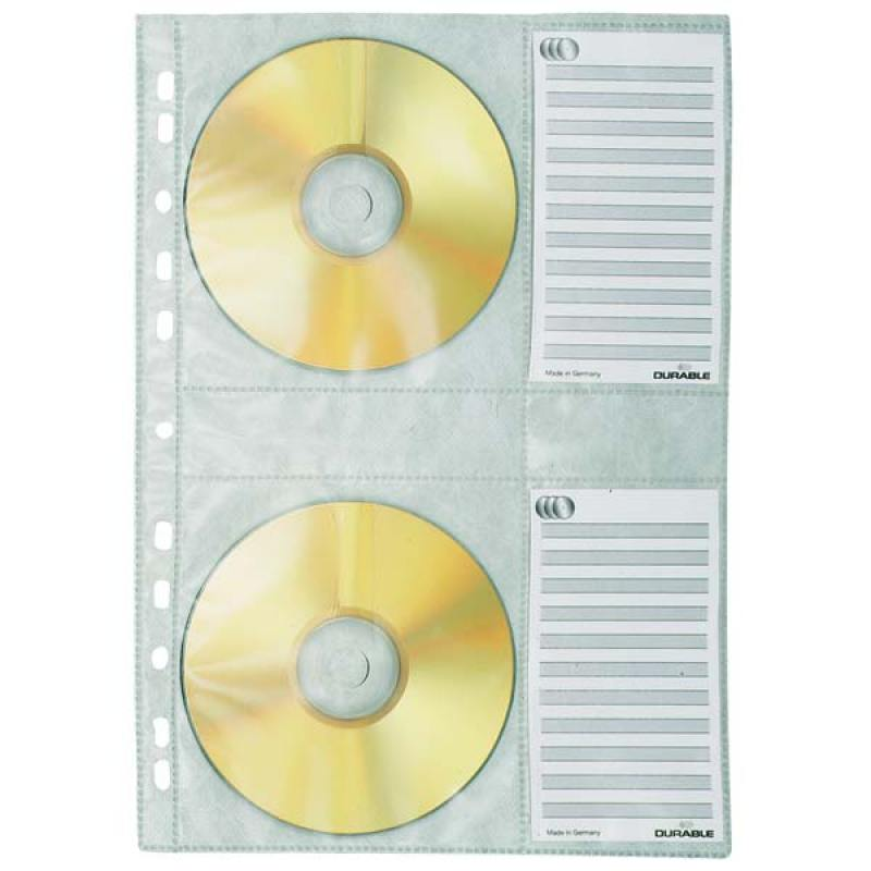 Вкладыш с перфорацией для 4х CD-дисков, ф. А4, 5 шт.