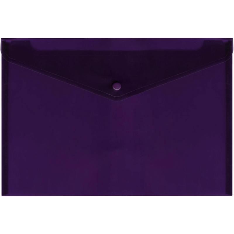 Папка-конверт с кнопкой, полупрозрачный, фиолетовый, A4 папка конверт с кнопкой полупрозрачный красный a4 ipf352 rd ipf352 rd