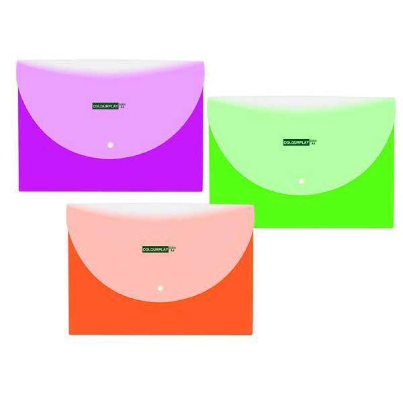 Папка-конверт COLOURPLAY с кнопкой, горизонтальная, ф. А4, 2 отделения, ассорти, 5 цветов, 180мкм
