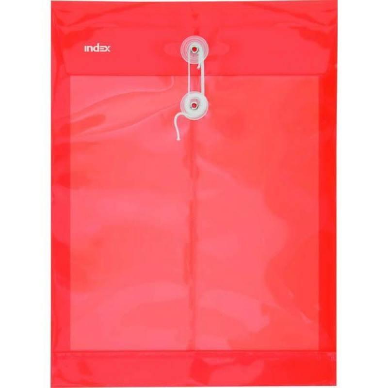 Папка-конверт на завязках, красная, A4