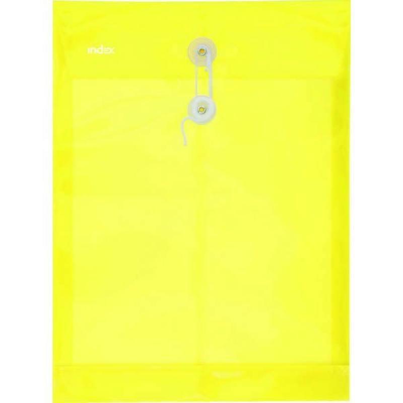 Папка-конверт на завязках, желтая, A4