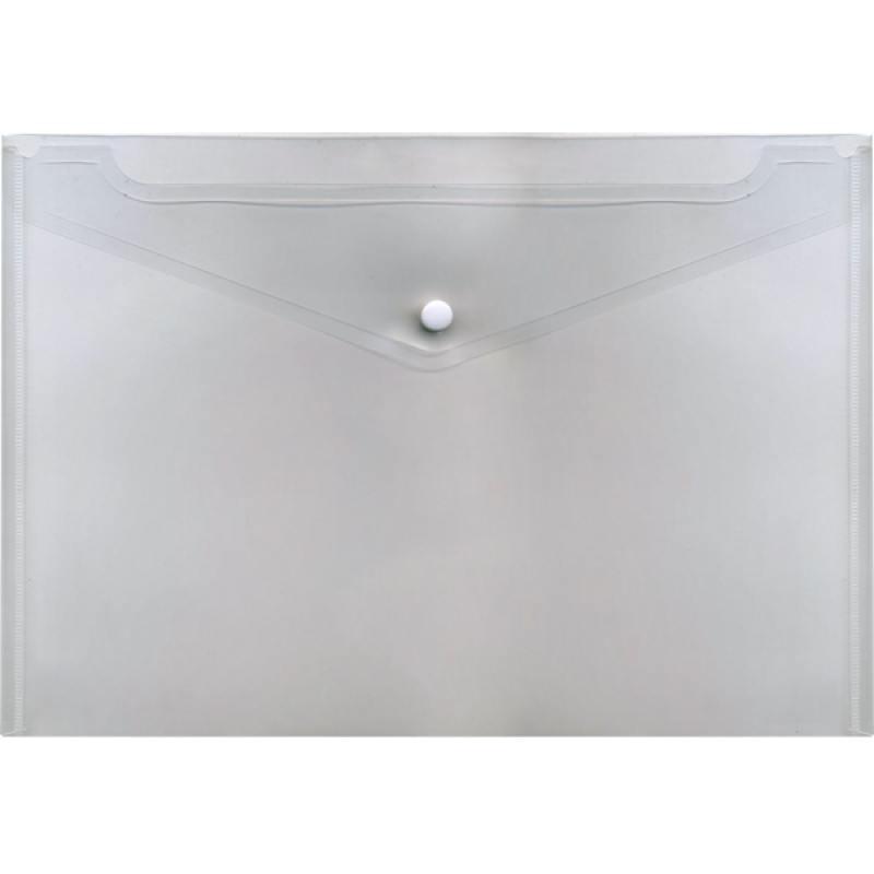 Папка-конверт с кнопкой, полупрозрачный, A4