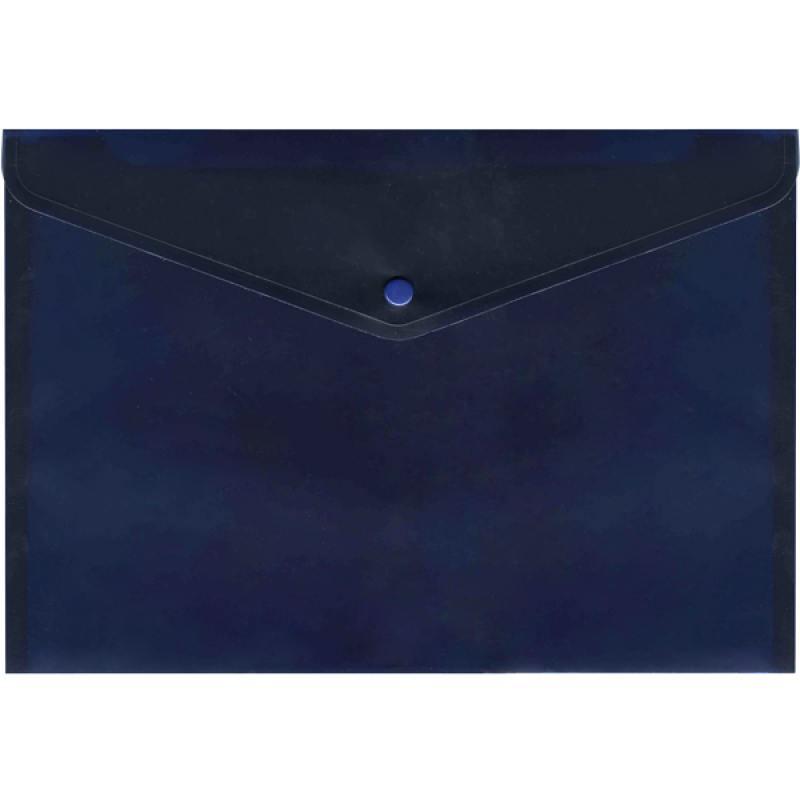 Папка-конверт с кнопкой, полупрозрачный, синий, A4 папка конверт с кнопкой полупрозрачный красный a4 ipf352 rd ipf352 rd