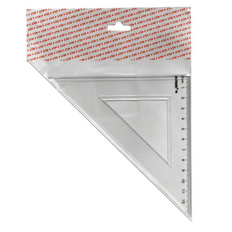 Фото - Треугольник 45*, длина 12 см,прозрачный,пластиковый,в инд.пакете с европодвесом треугольник рантис 30 градусов 12 см пластиковый прозрачный