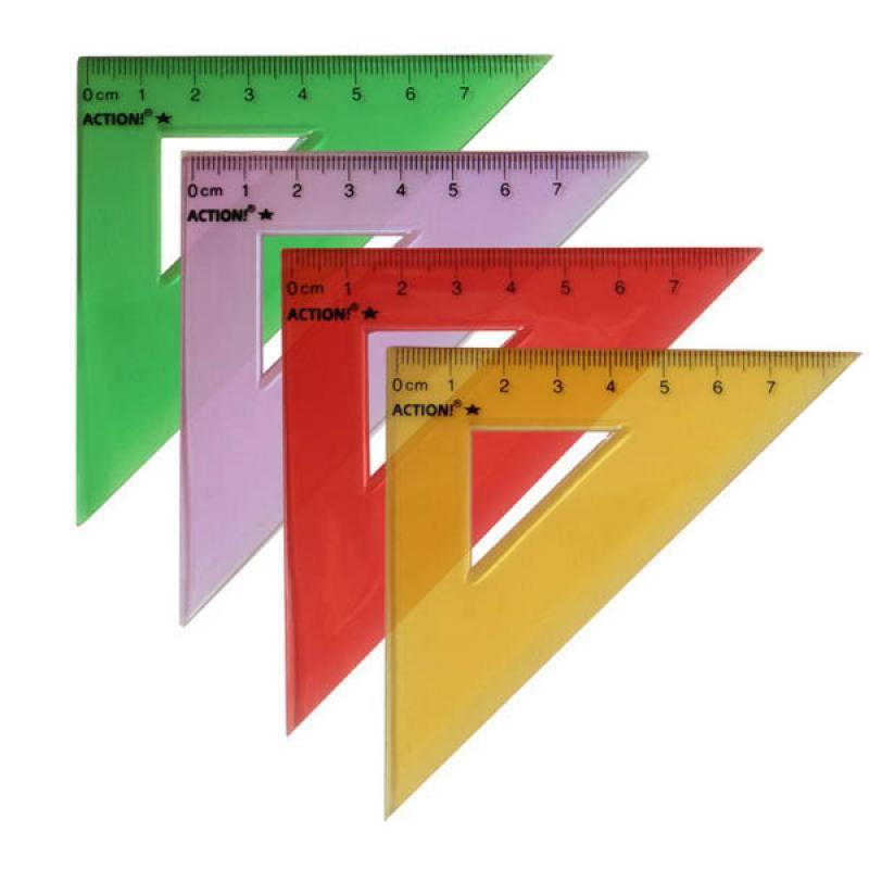 Фото - Треугольник 45*, длина 7 см,флюоресцентный,прозрачный,пластиковый,4цв,в инд.пакете с европодвесом треугольник рантис 30 градусов 12 см пластиковый прозрачный