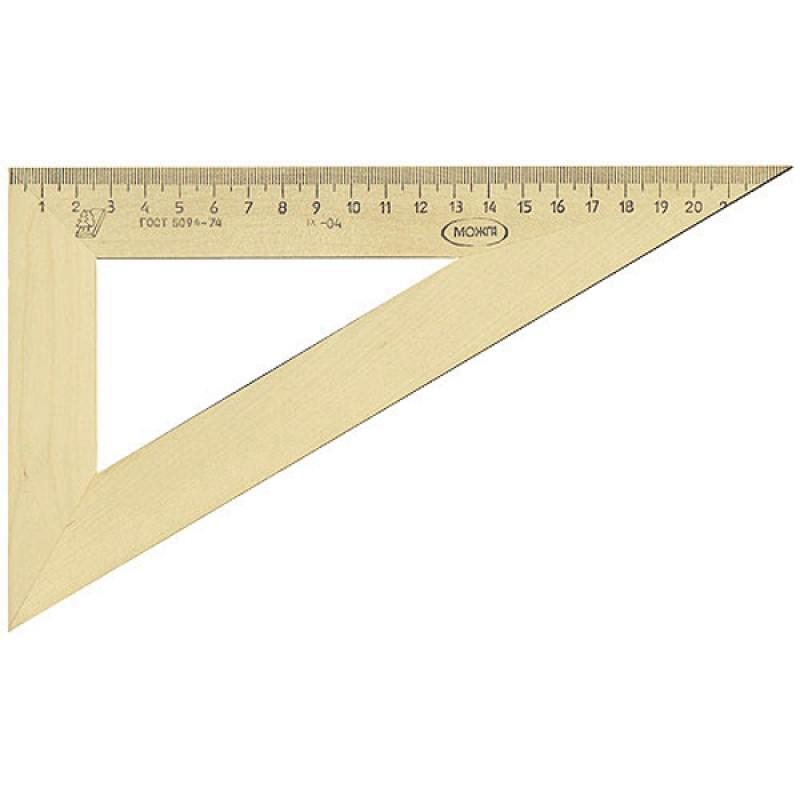 Треугольник деревянный, 30*, 23 см, со штрихкодом линейка деревянная 17 см со штрихкодом