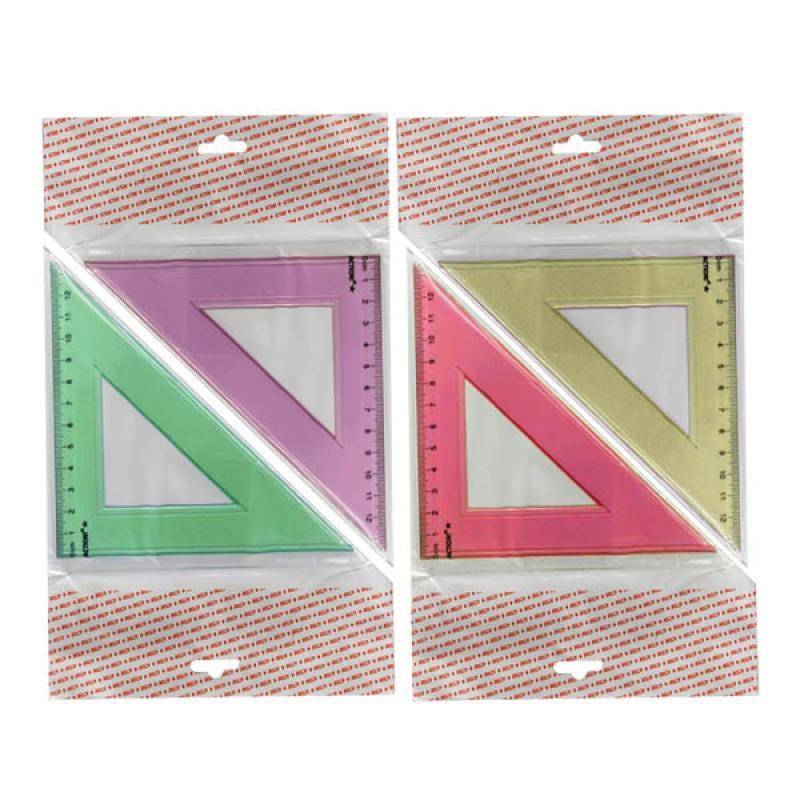 Фото - Треугольник 45*, длина 12 см,флюоресцентный,прозрачный,пластиковый,4цв,в инд.пакете с европодвесом треугольник рантис 30 градусов 12 см пластиковый прозрачный