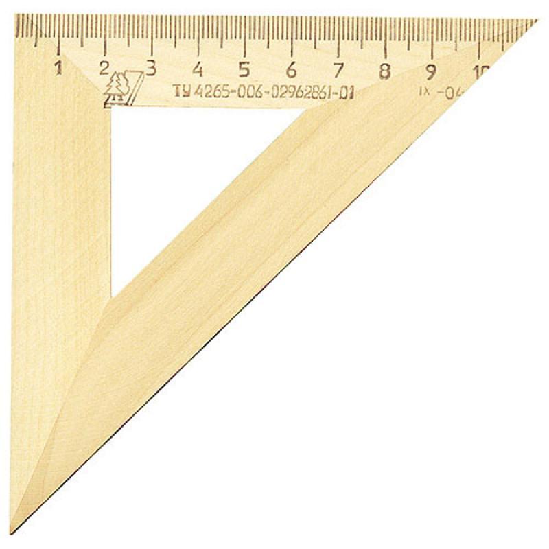 Треугольник деревянный, 45*, 11 см, со штрихкодом линейка деревянная 17 см со штрихкодом