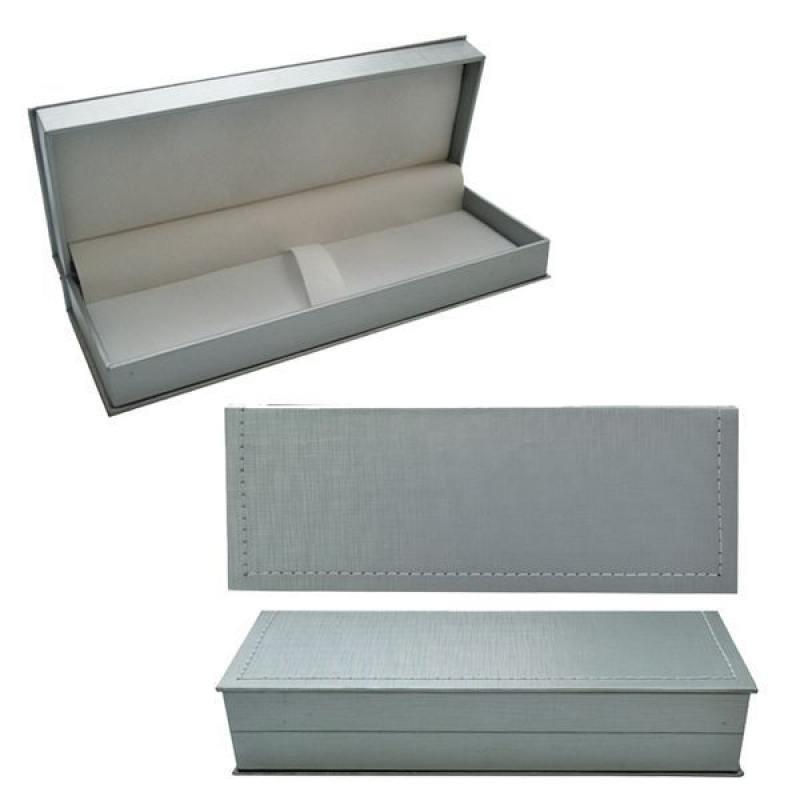 Футляр для ручки, подарочный, прямоугольный, 188х65х34 мм, серебристый подарочный футляр под кинжал кожа