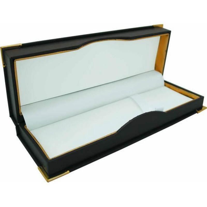 Футляр для 1-2 ручек, подарочный, бархатная подкладка, прямоугольный, 186х67х32 мм, коричневый подарочный футляр под кинжал кожа