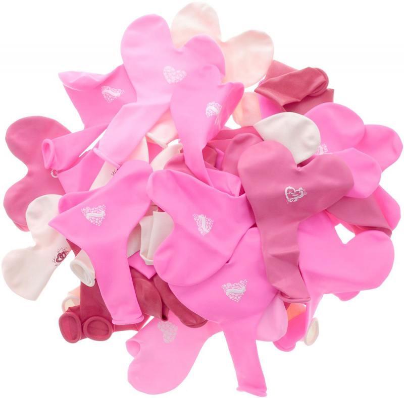 ШАРЫ ВОЗДУШНЫЕ сердечки разноцветные c ПРИНТОМ I LOVE YOU, 50шт шары воздушные сердечки нежность розовые и белые 50шт