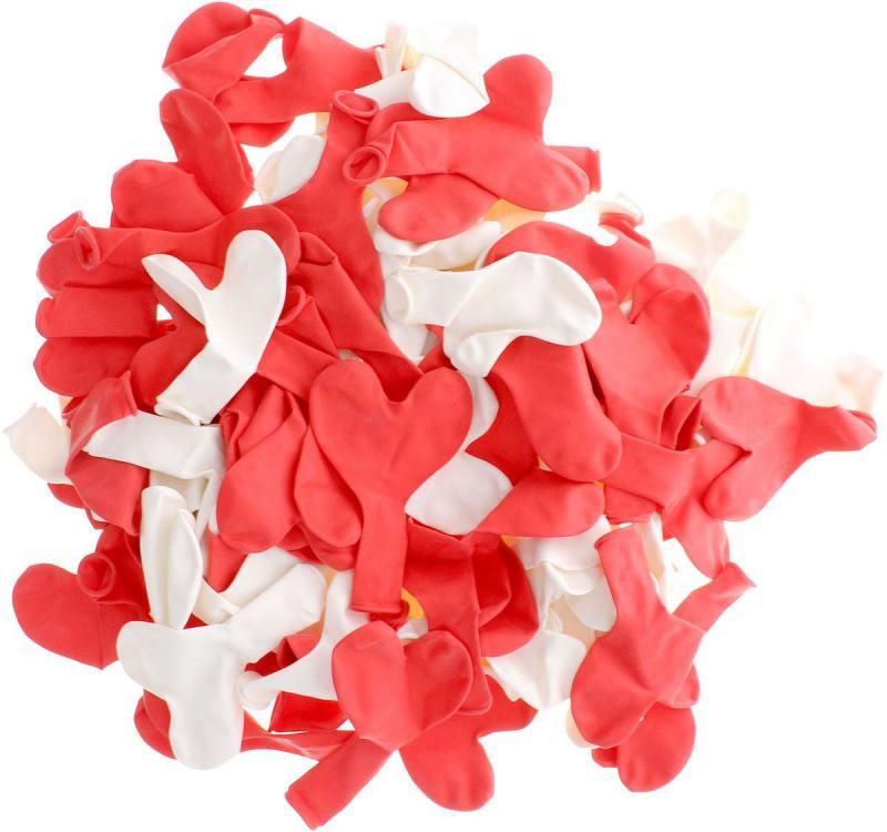 ШАРЫ ВОЗДУШНЫЕ сердечки красные, белые, 100шт шары воздушные сердечки нежность розовые и белые 50шт