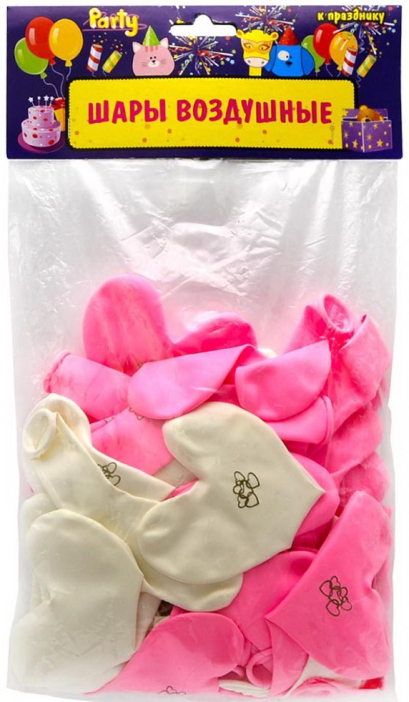 ШАРЫ ВОЗДУШНЫЕ сердечки НЕЖНОСТЬ,розовые и белые, 50шт