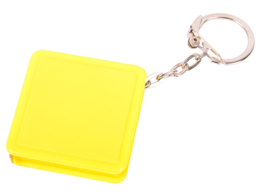 Брелок-рулетка квадратный, пластик, желтый рулетка брелок biber 40131