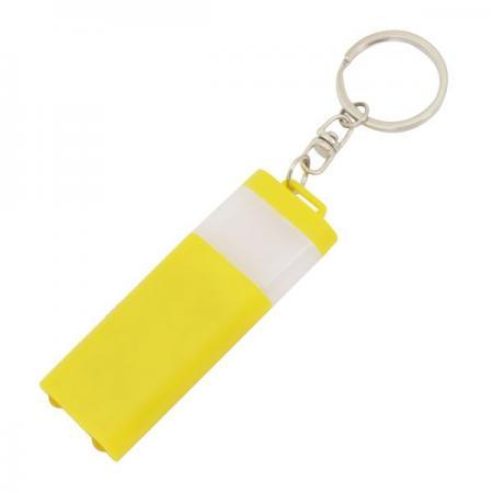 Брелок-фонарик двусторонний, желтый корпус, индивид. стикер