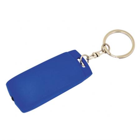 Брелок-фонарик, синее основание, синий корпус, индивид. стикер