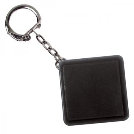 Брелок-рулетка квадратный, пластик, черный брелок рулетка 2 5 2 5 см пластик синий рулетка 50 см