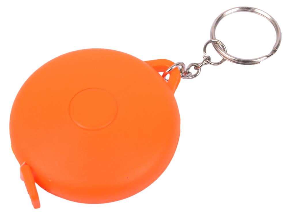 Брелок-рулетка, пластик, оранжевый, круглый карманный рулетка практическая брелок брелок кольцо брелок брелок держатель