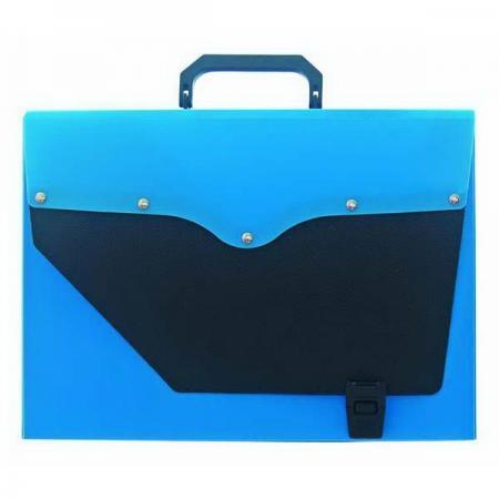 Папка-портфель без отделений, А4, синяя с черным клапаном портфель office point exclusive пластиковый картотека на 12 отделений