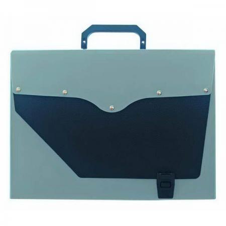 Папка-портфель без отделений, А4, серебряная с черным клапаном портфель office point exclusive пластиковый картотека на 12 отделений
