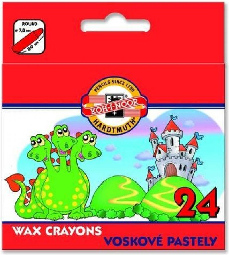 Мелки восковые школьные, 24 цв., картонная упаковка с европодвесом карандаши восковые мелки пастель koh i noor карандаш двухцветный красно синий