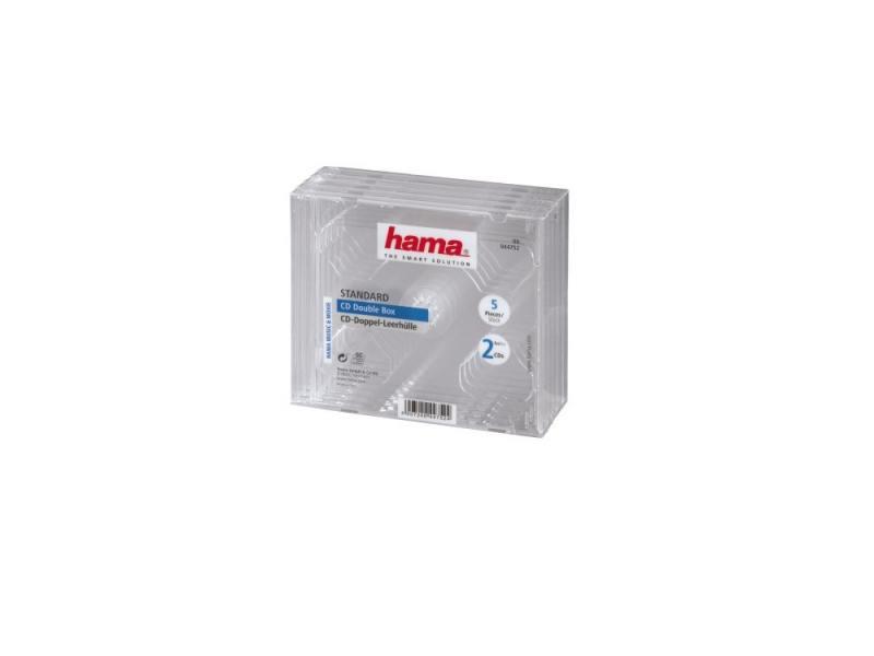 Коробка HAMA для 2 CD прозрачный 5шт H-44752 конверты hama для cd dvd бумажные с прозрачным окошком белый 25шт h 51060