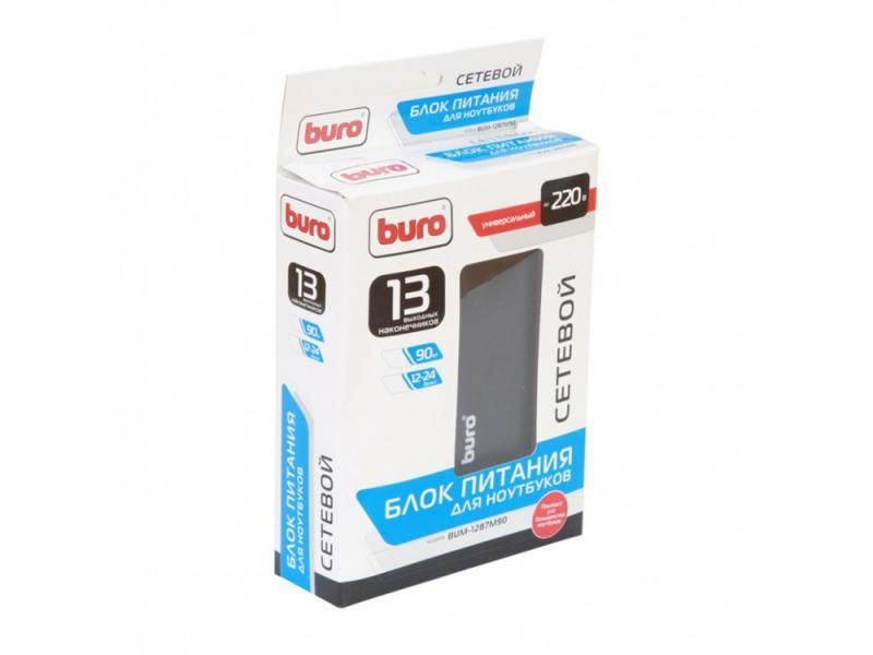 Блок питания для ноутбука Buro BUM-1287M90 13 переходников 90Вт черный адаптер питания buro bum 0065a90 90вт черный