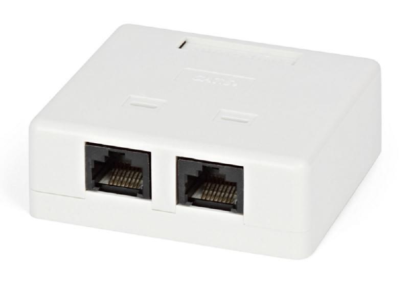 Розетка Hyperline SB2-2-8P8C-C5e-WH RJ-45 Dual IDC двойная категория 5e внешняя плинт соединительный hyperline на 10 пар маркировка 1 0 kr pl 10 con 1
