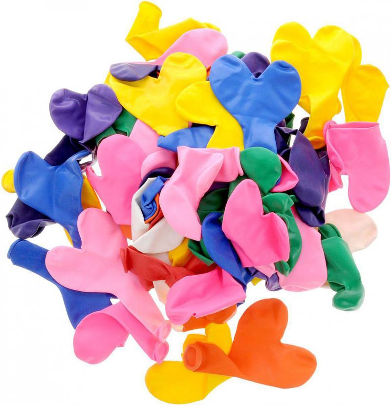 ШАРЫ ВОЗДУШНЫЕ сердечки разноцветные, 100шт цена и фото
