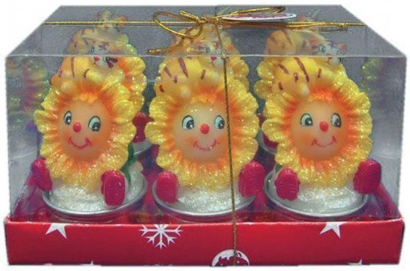 Набор свечей ТИГРЕНОК С ПОДСОЛНУХОМ, 9х6 см, 6 шт. набор свечей фейрверк искрящиеся 16см 24шт