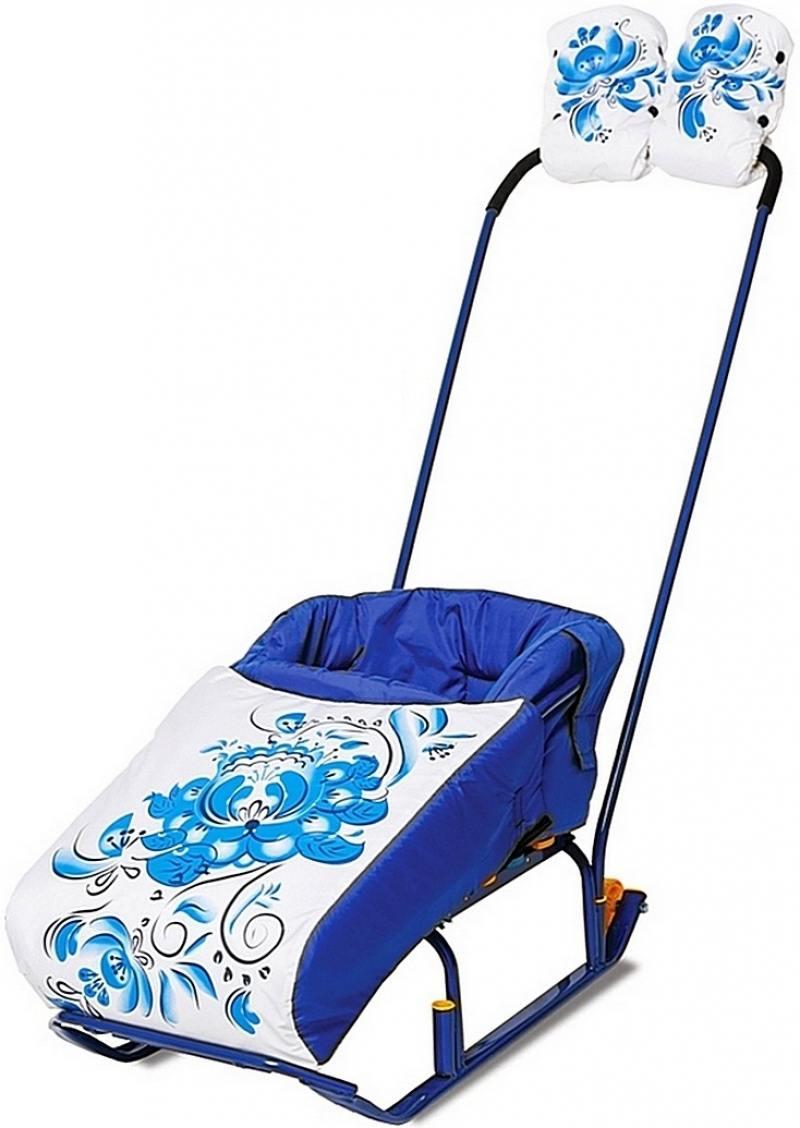 Фото Комплект для санок RT Гжель матрасик и варежки синий 4986