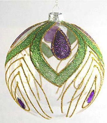 Украшение елочное шар ПАВЛИН, прозрачный, желтый с зеленым, 1 шт., 10 см, стекло украшение елочное башмачок 1 шт 10 см стекло
