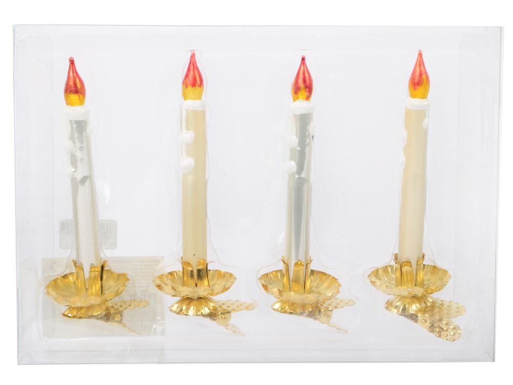 Украшение елочное СВЕЧКА, 4 шт.,14 см, стекло|1 цена и фото