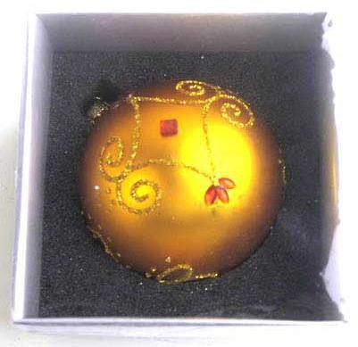 Украшение елочное шар ПАВЛИН, матовый, золотой, 1 шт., 8 см, стекло