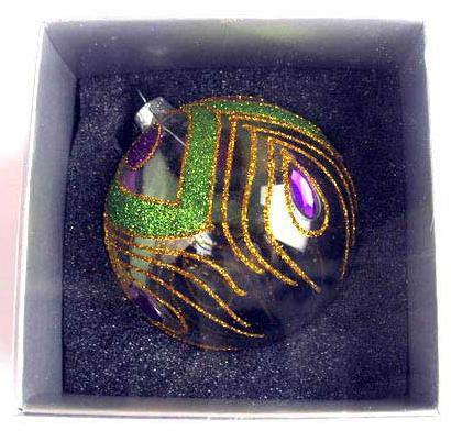 Украшение елочное шар ПАВЛИН, прозрачный, желто-зеленый, 1 шт., 8 см, стекло