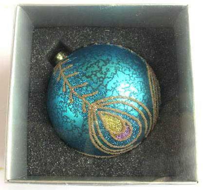 Украшение елочное шар ПАВЛИН, голубой с розовым, 1 шт., 8 см, стекло украшение елочное шар павлин серебряный с оранжевым 1 шт 8 см стекло